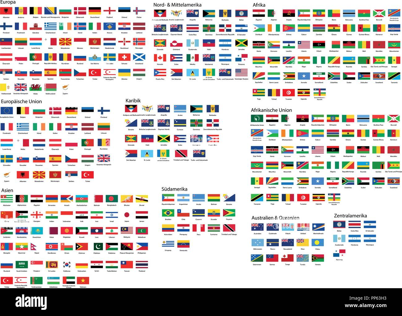 All National Flags Of The World With Names In High Quality Stock Vector Image Art Alamy