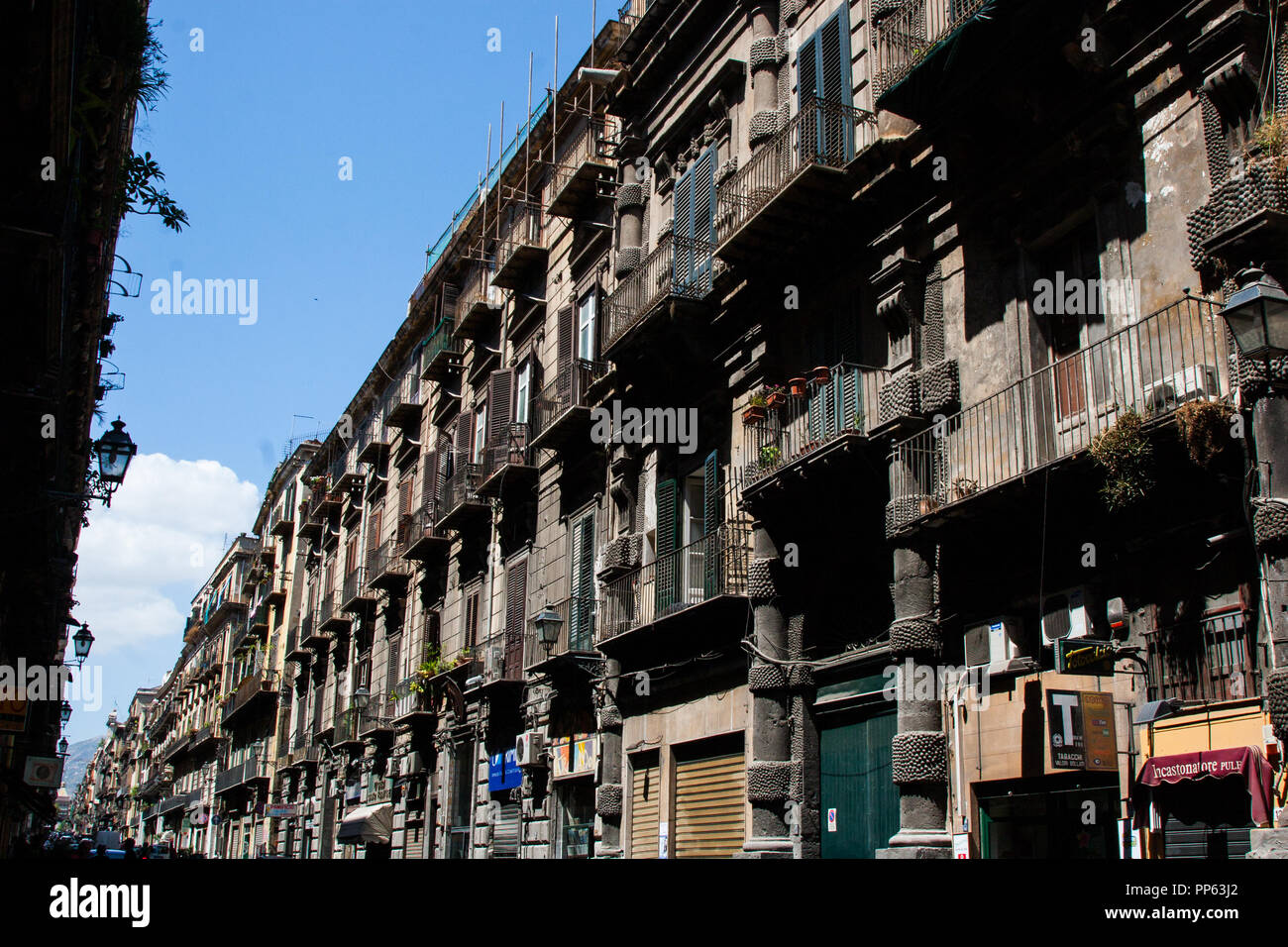 Wallpaper Background Of Palermo Old Residential Building Street View On A Summer Day No People Sicily Italy