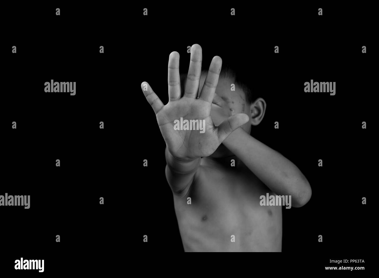 Stop abusing violence, Human trafficking, End to violence against children. - Stock Image