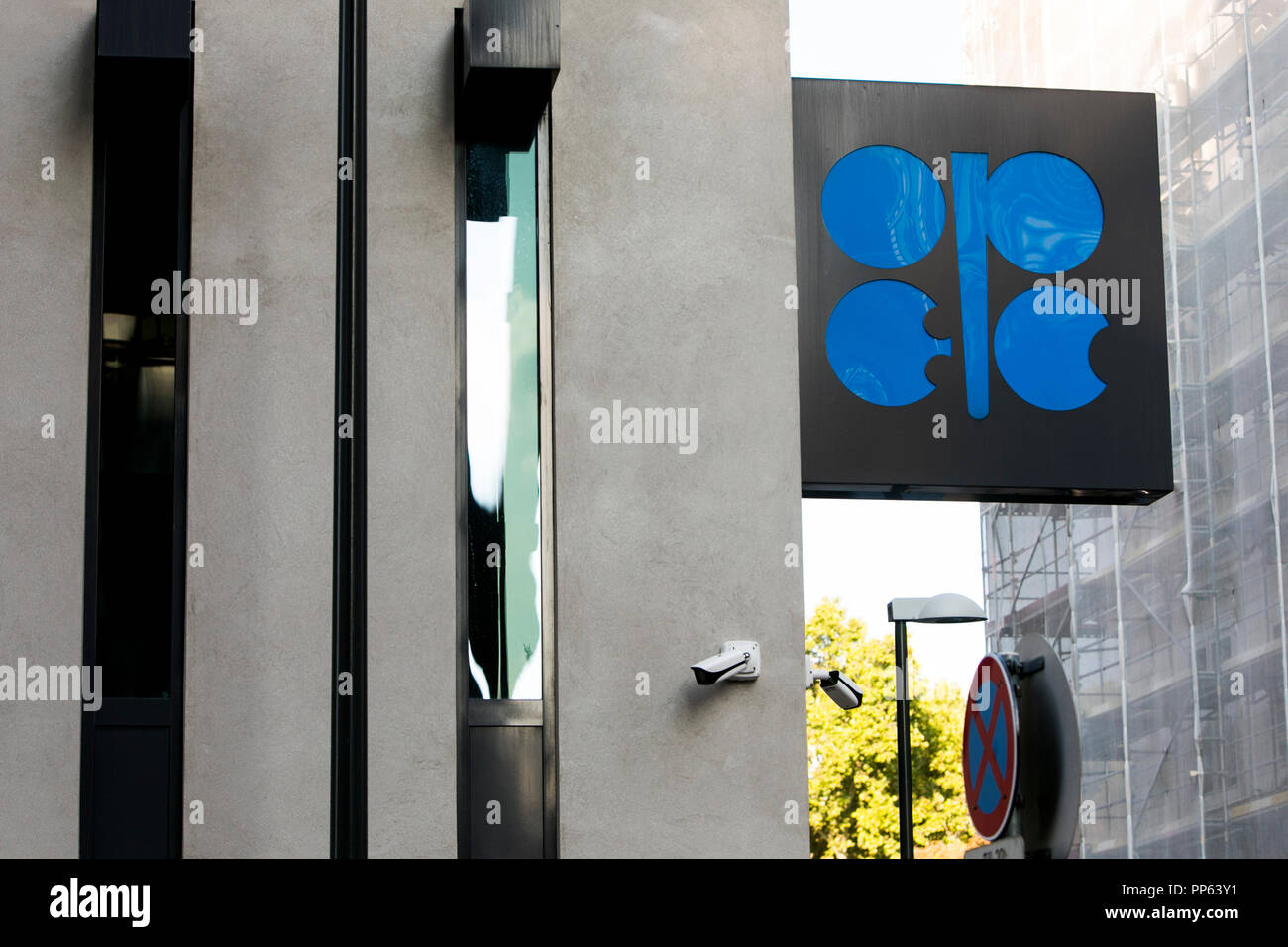 A logo sign outside of the headquarters of The Organization of the Petroleum Exporting Countries (OPEC) in Vienna, Austria, on September 6, 2018. - Stock Image