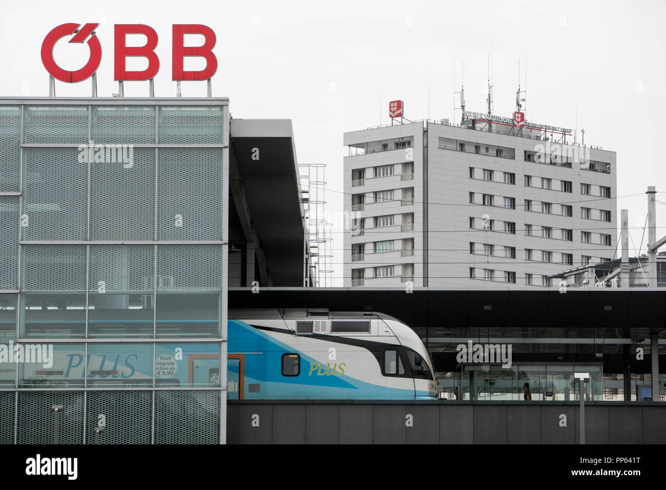 A logo sign outside of a OBB (Austrian Federal Railways) station in Vienna, Austria, on September 4, 2018. - Stock Image