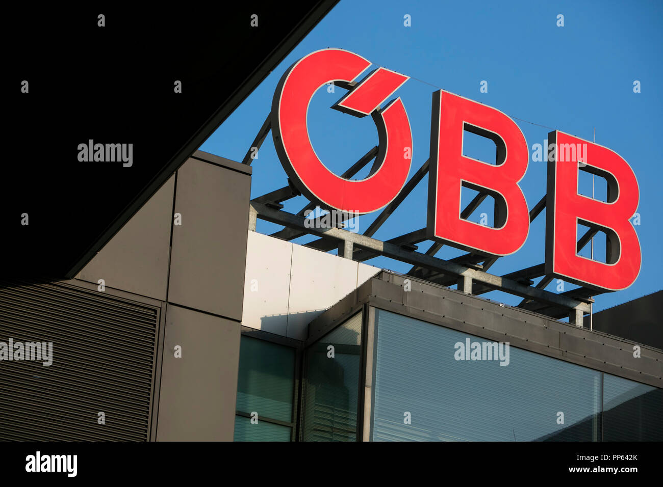 A logo sign outside of a OBB (Austrian Federal Railways) station in Vienna, Austria, on September 5, 2018. - Stock Image