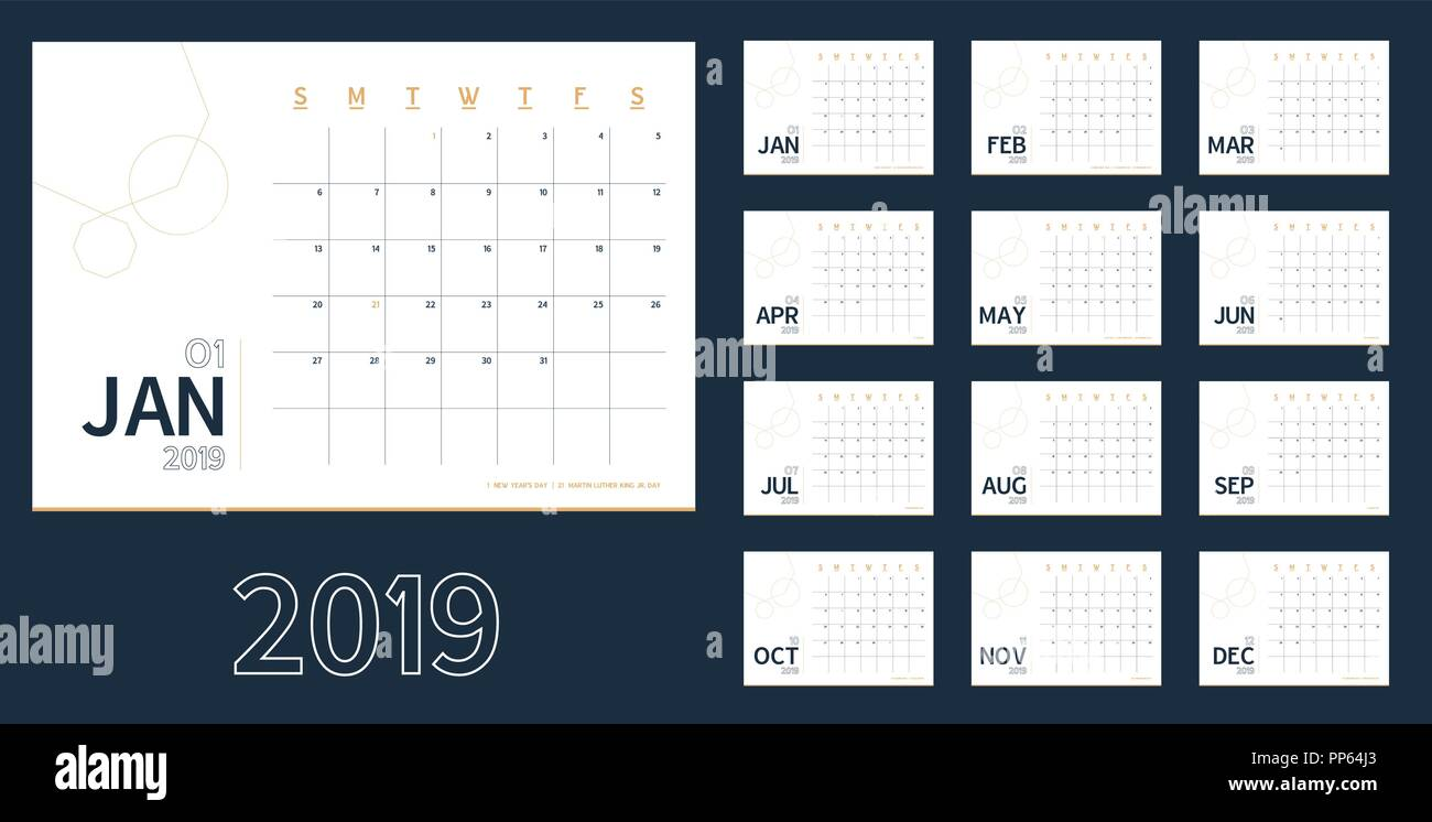 Vector of 2019 new year calendar in clean minimal blue table simple style,Holiday event planner,Week Starts Sunday.include holiday event.A5 size Stock Vector