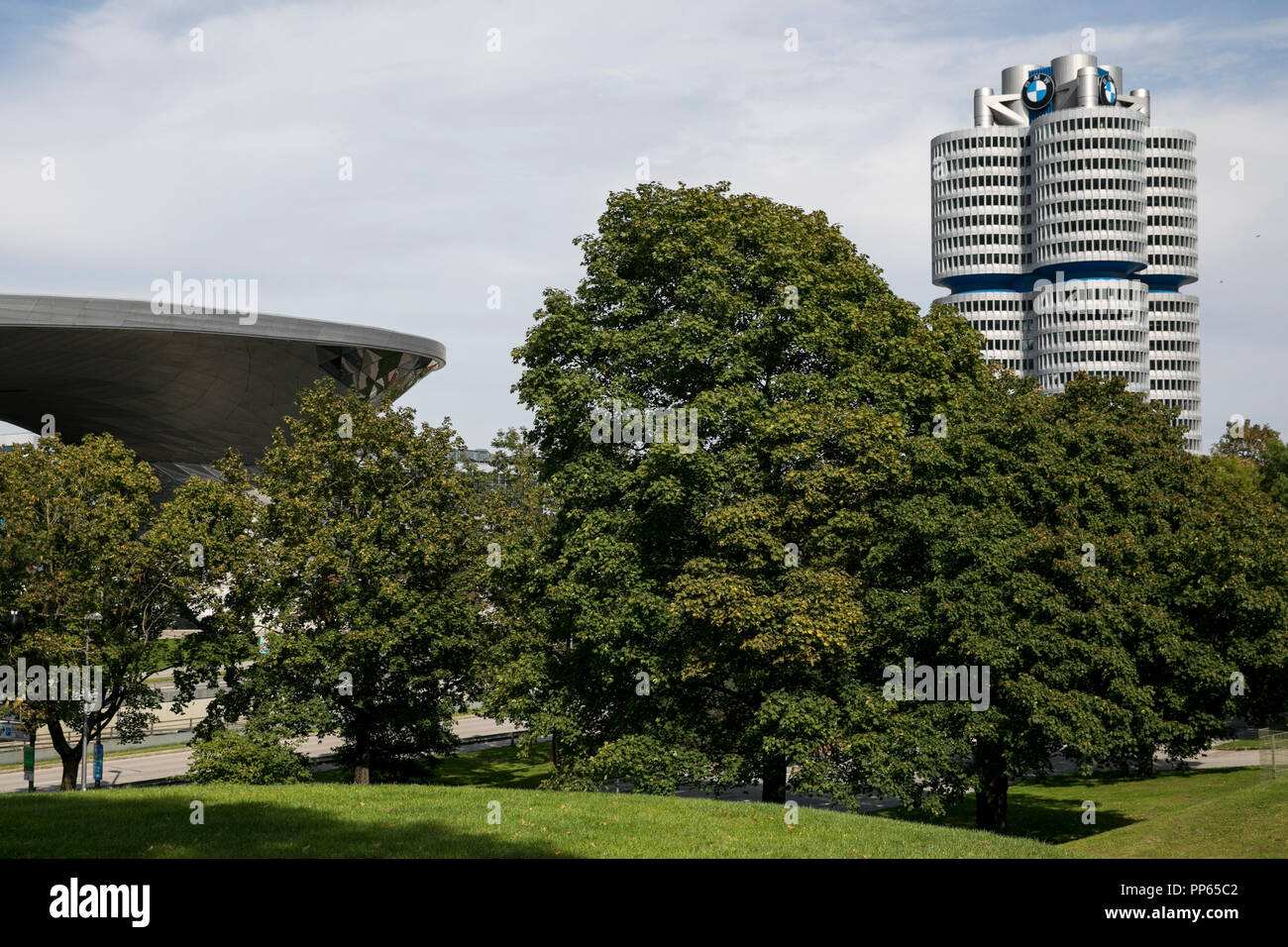 A logo sign outside of the headquarters of the BMW Group (Bayerische Motoren Werke) in Munich, Germany, on September 9, 2018. - Stock Image