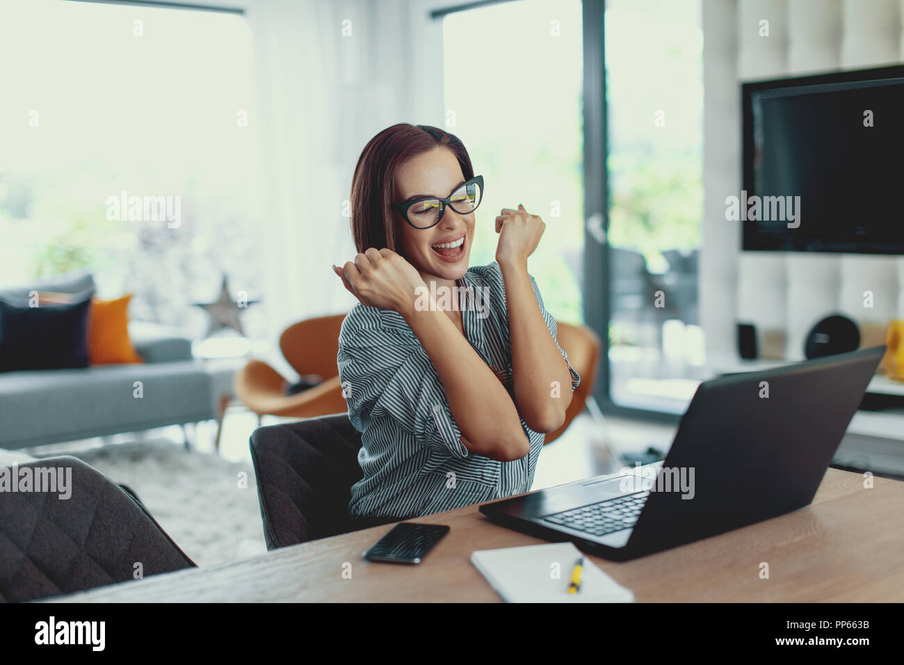 Young lucky succeessful woman euphoria, passing application or examination at laptop, indoors - Stock Image