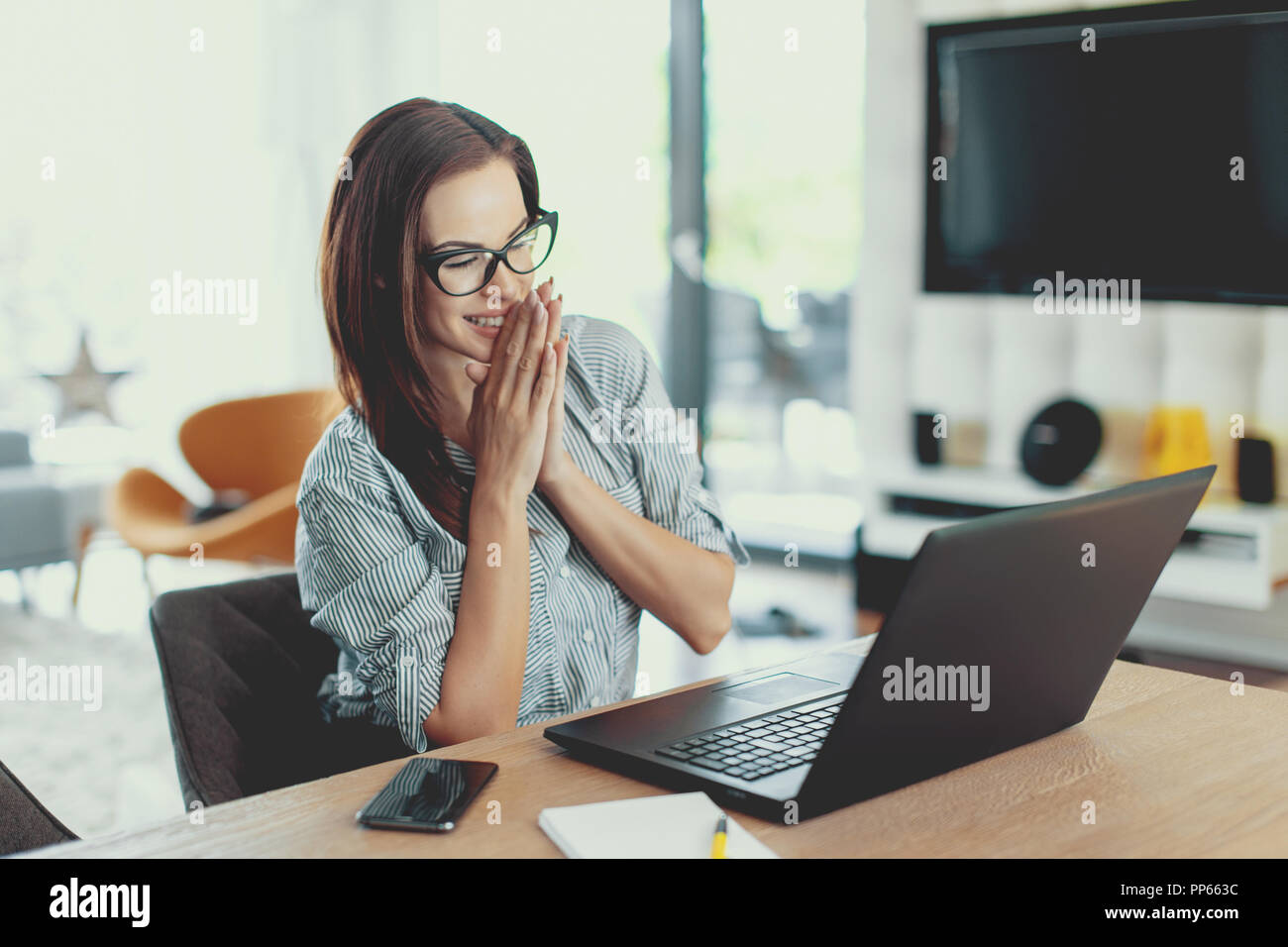 e1207800227 Happy young modern businesswoman reading good news on laptop indoors - Stock  Image