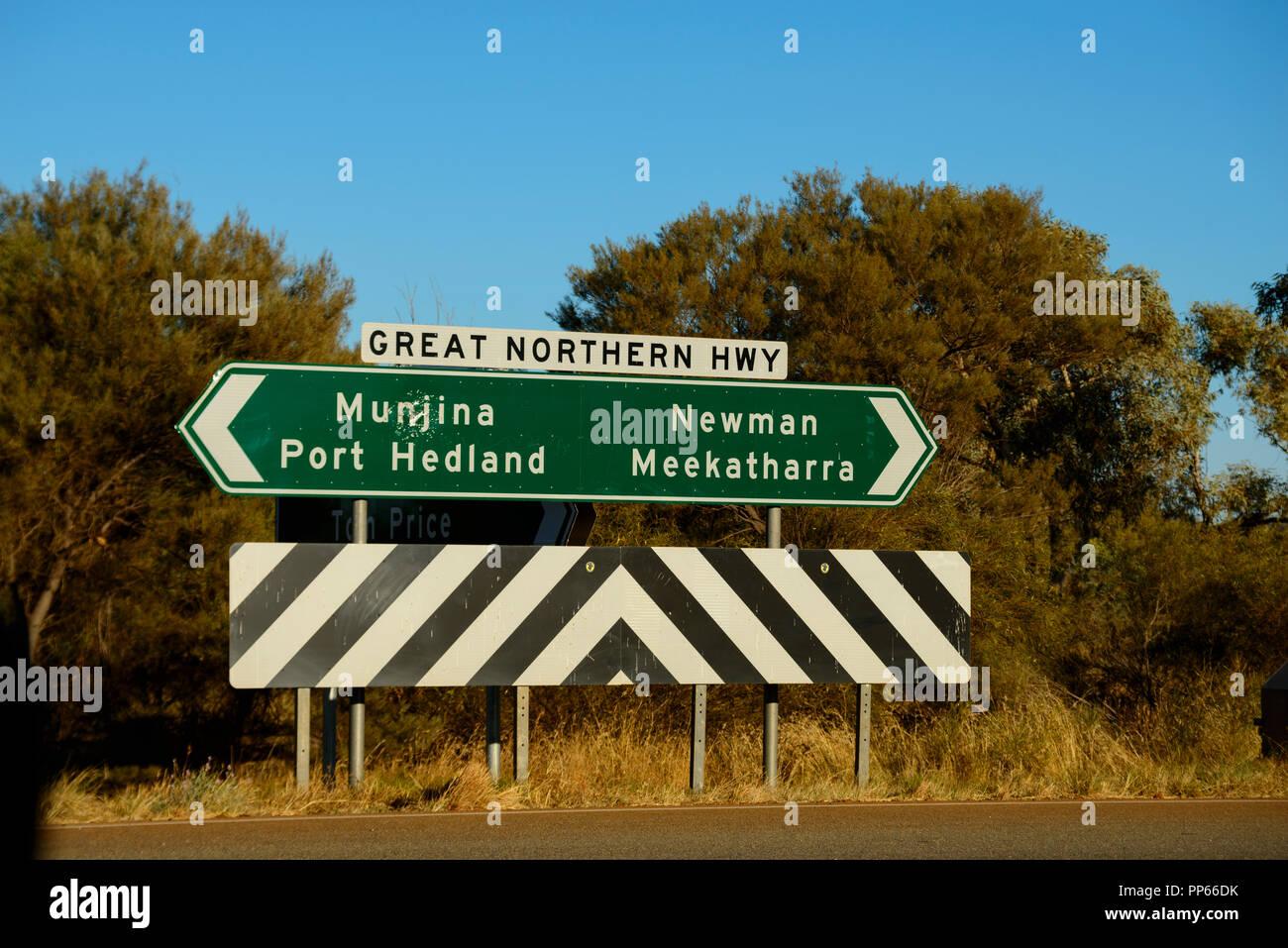 Road Sign, Great Nothern Highway, Port Headland, Newman, Munjina, Meekatharra. Australia Stock Photo