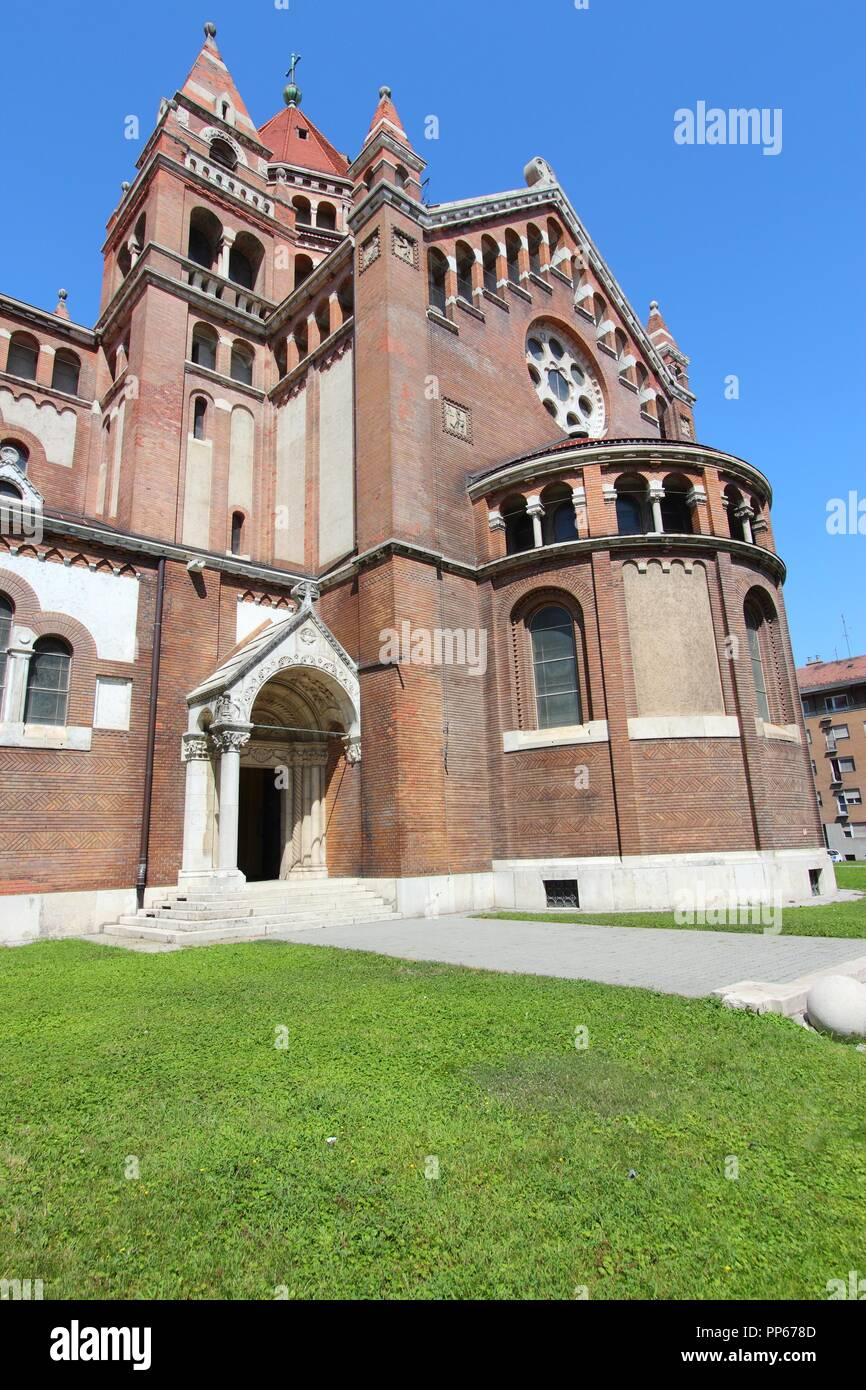 Szeged, Hungary. City in Csongrad county. Votive Church. Neo-romanesque architecture. - Stock Image