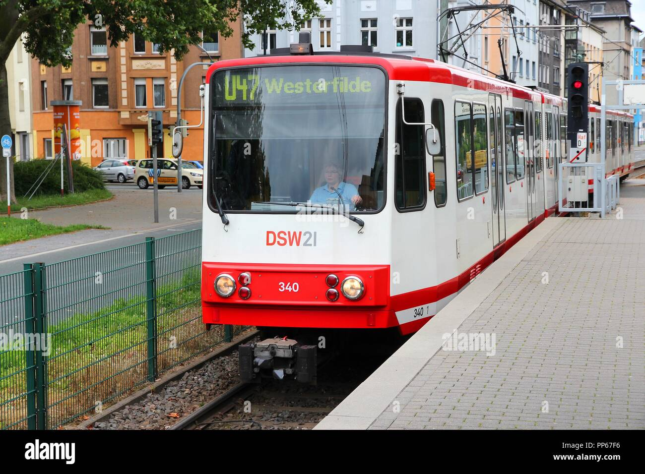 DORTMUND, GERMANY - JULY 16: People ride city tram on July 16, 2012 in  Dortmund, Germany. Dortmund light rail network serves 130 million annual  rides Stock Photo - Alamy