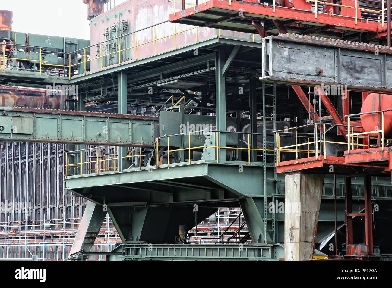 Industrial area Zollverein in Essen - city in Ruhrgebiet (Ruhr Metropolitan Region) in Germany. Former coal mine, now cultural landscape on UNESCO Wor - Stock Image