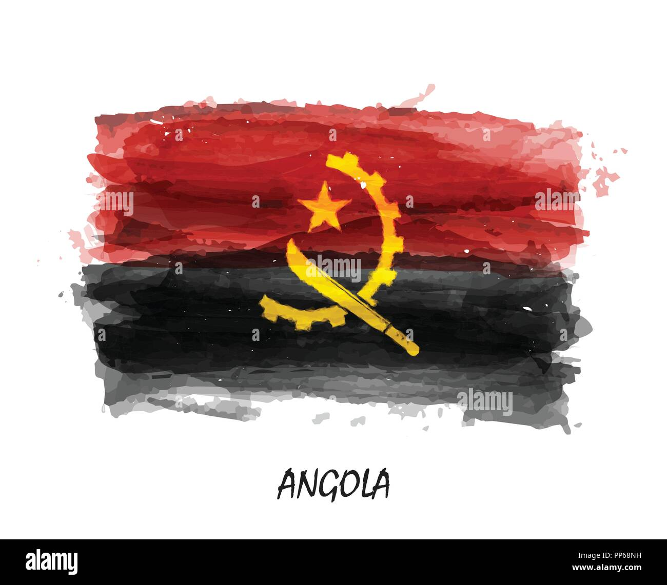 Realistic watercolor painting flag of Angola . Vector . ( Not auto trace . Use watercolour brush ) . - Stock Image