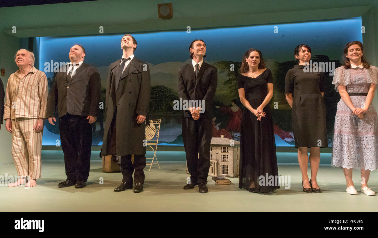 Curtain call, cast of Brian Friel's Aristocrats, Donmar Warehouse Theatre, London, England, UK - Stock Image