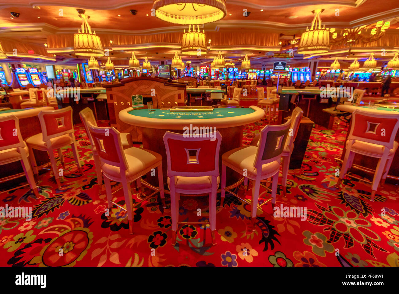 Las Vegas, Nevada, United States - August 18, 2018: closeup of blackjack tables inside the luxurious Wynn Las Vegas Resort Hotel, a 5-star, themed Paradise in Las Vegas Strip. - Stock Image