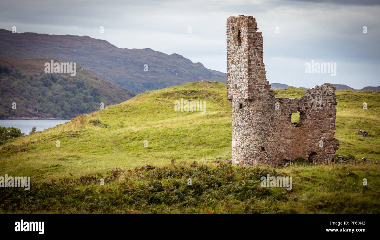 Ruined Castle on a gloomy day scotland - Stock Image