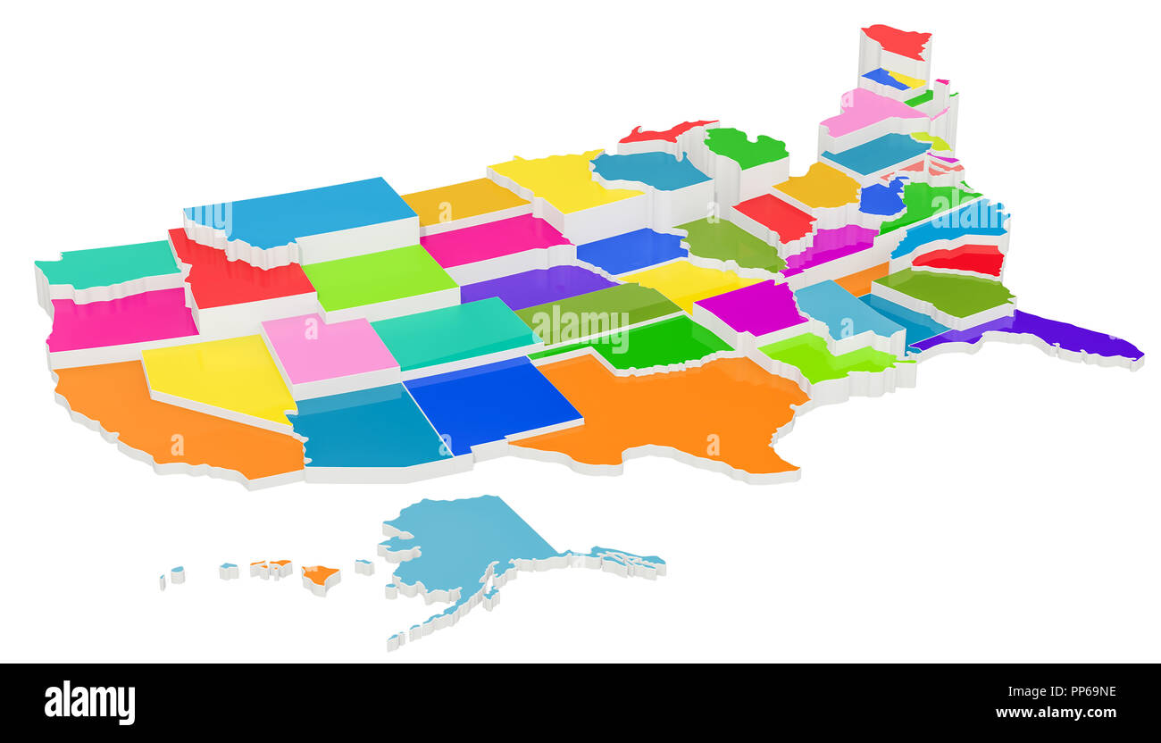 Colored United States of America map with state borders, 3D ...