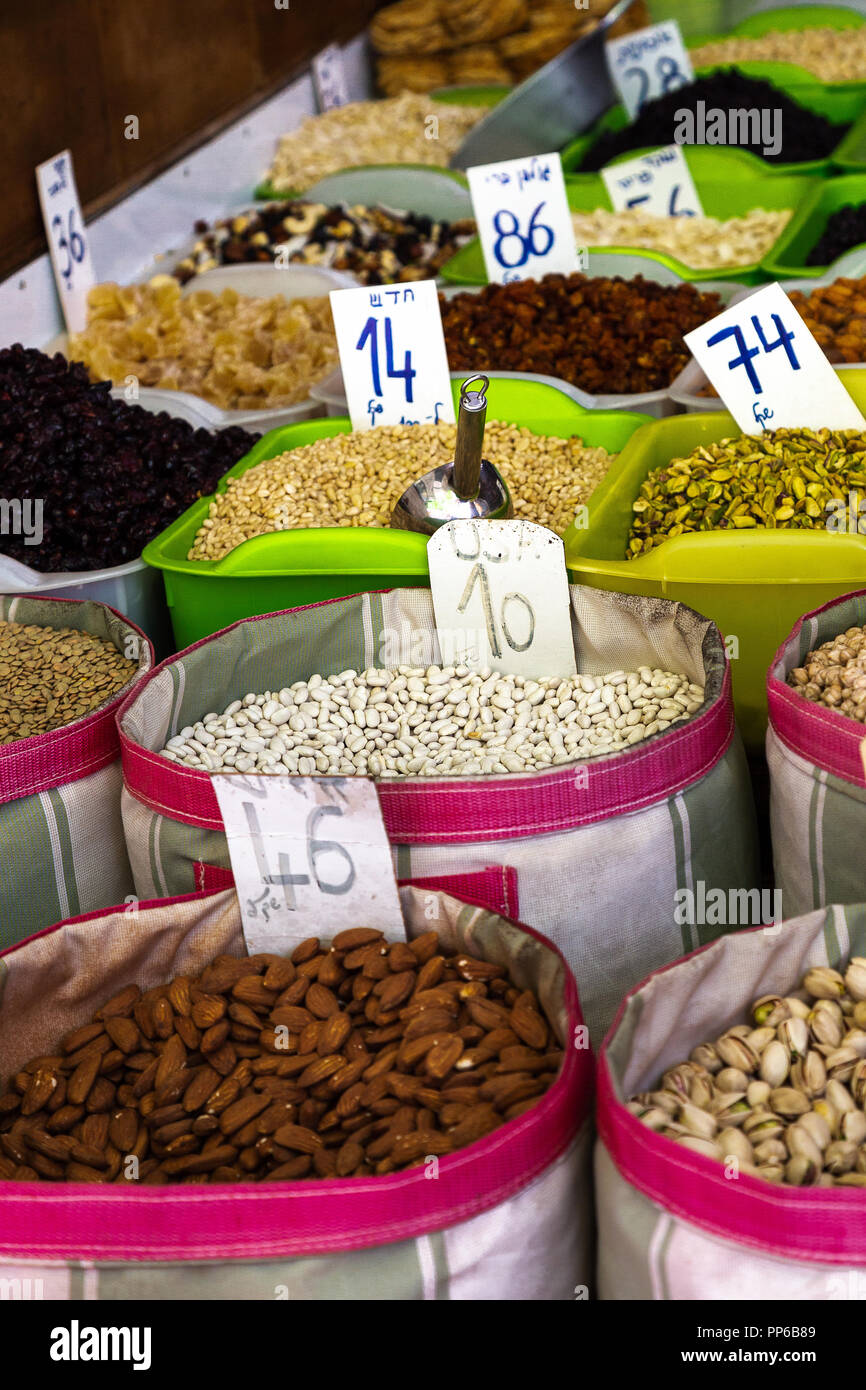 Sacks of beans at a local market in Tel Aviv, Israel - Stock Image