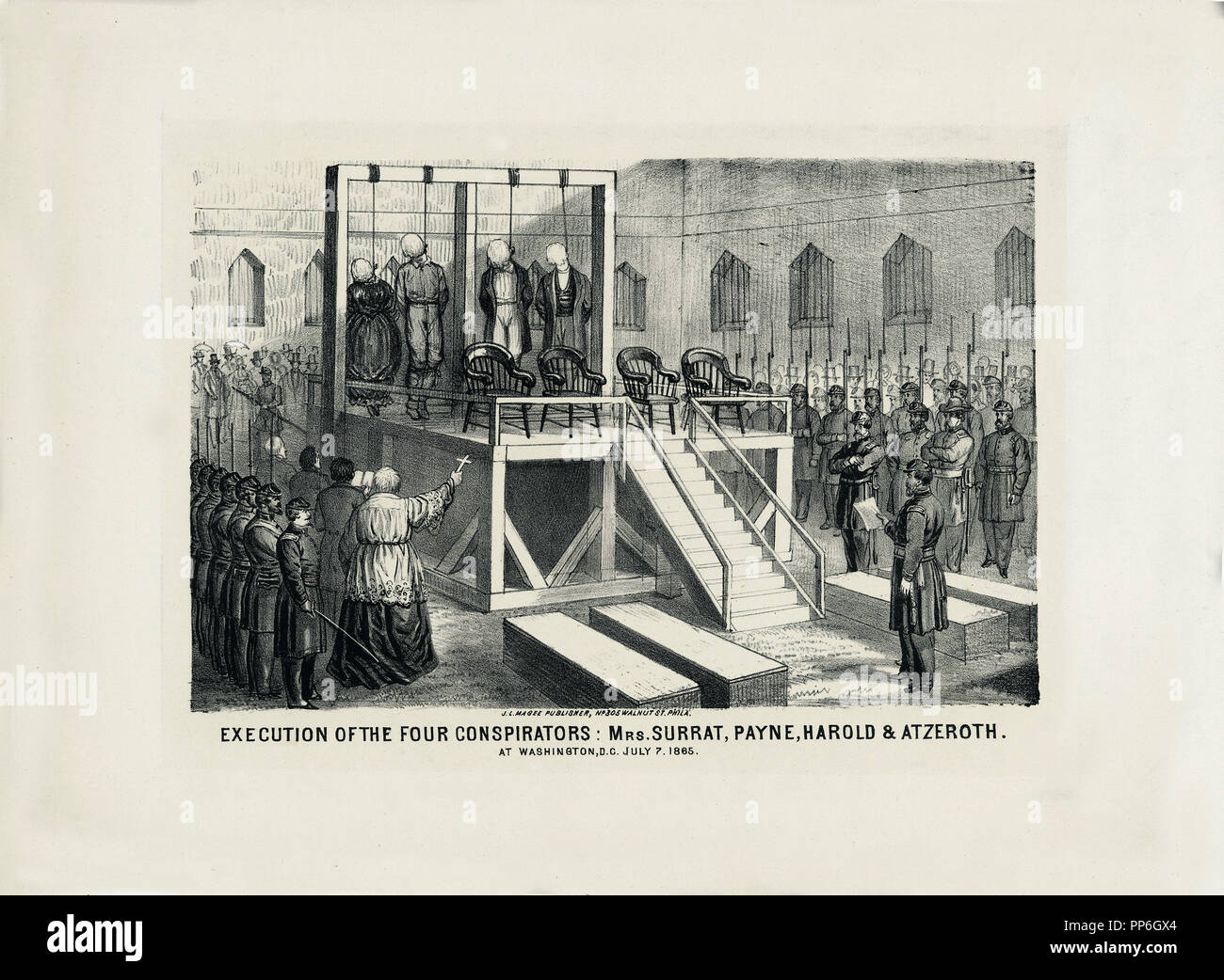 Execution of four conspirators for the assassination of Abraham Lincoln - Stock Image