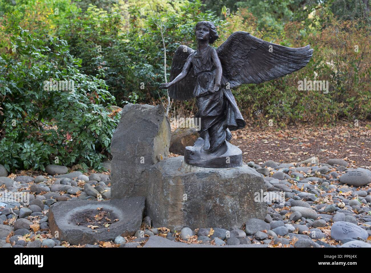 The Angel of Hope statue in Silverton, Oregon, a memorial place for children who have died. - Stock Image