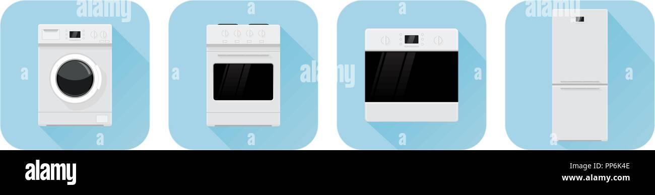 Home appliances symbols. Blue icons - Stock Image