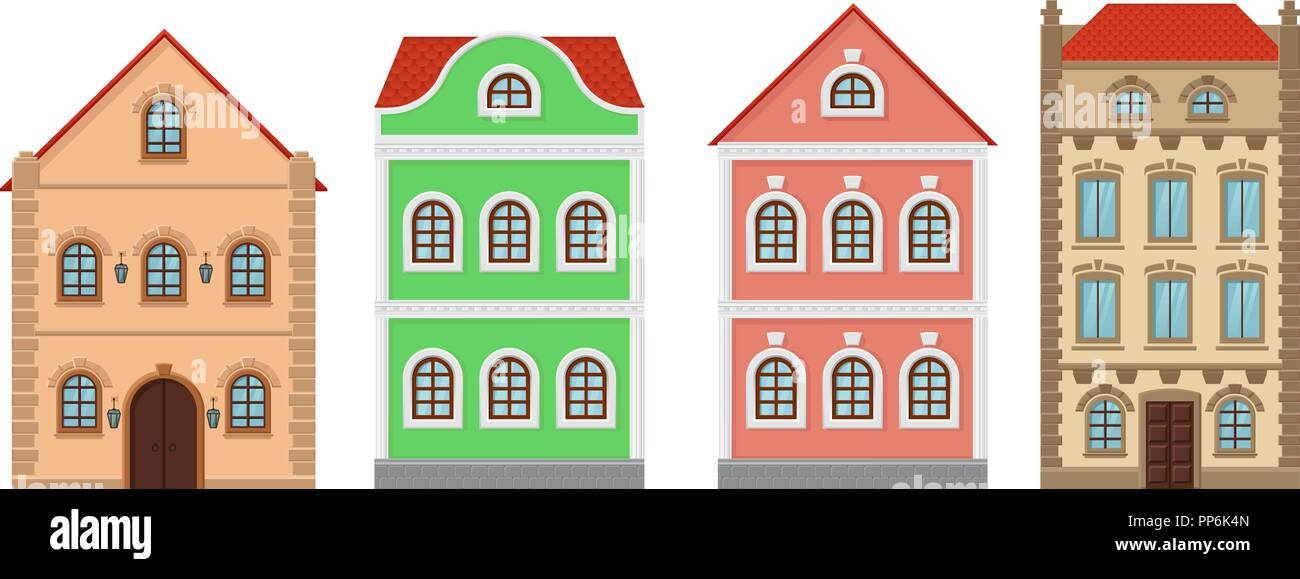 Buildings. Old european houses. Colored set - Stock Vector