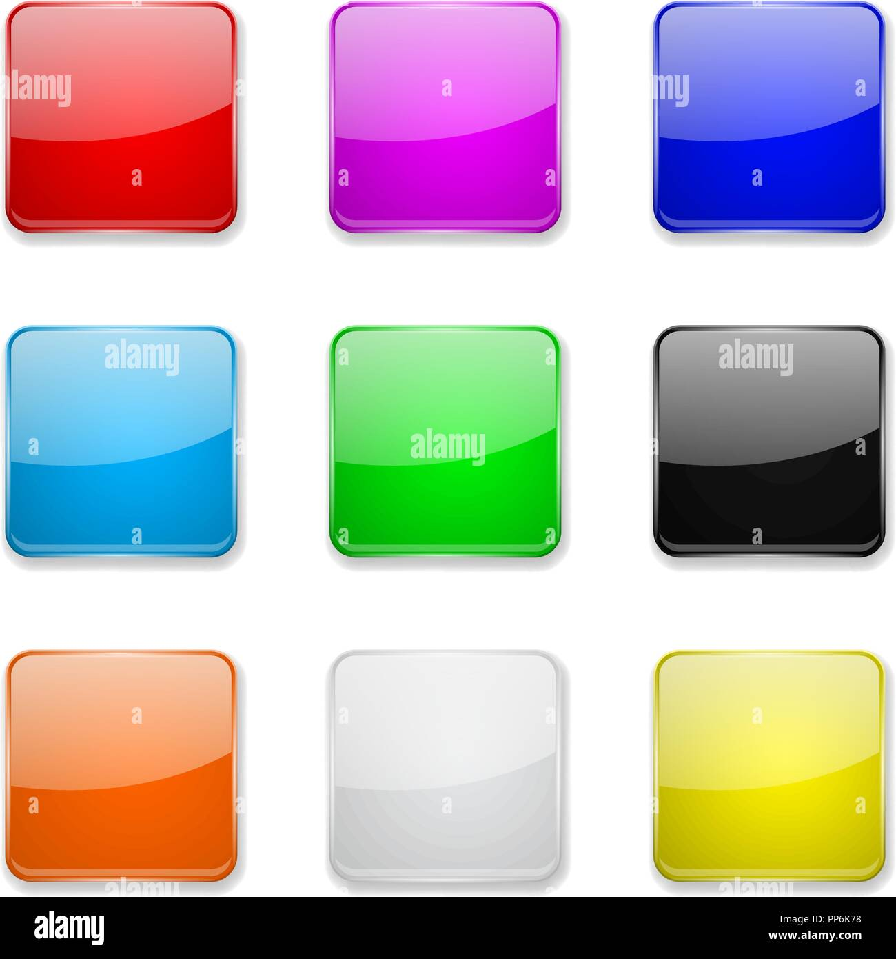 Square glass buttons  Colored set of 3d icons Stock Vector