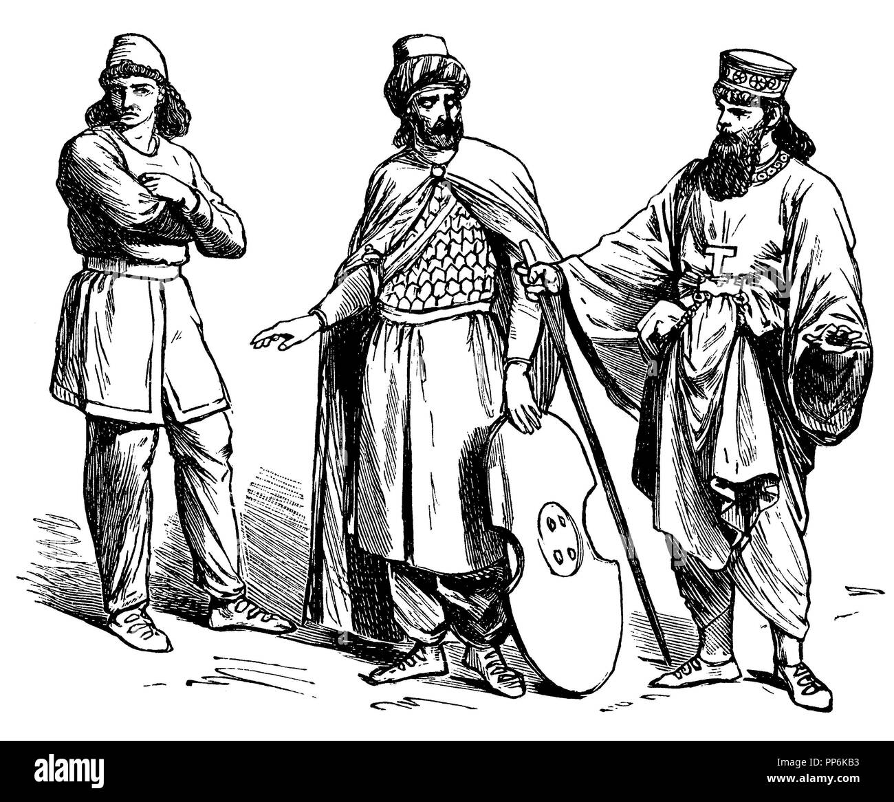 left: Persian, middle: Persian warrior, right: Noble Meder in the Kandys, anonym  1896 - Stock Image