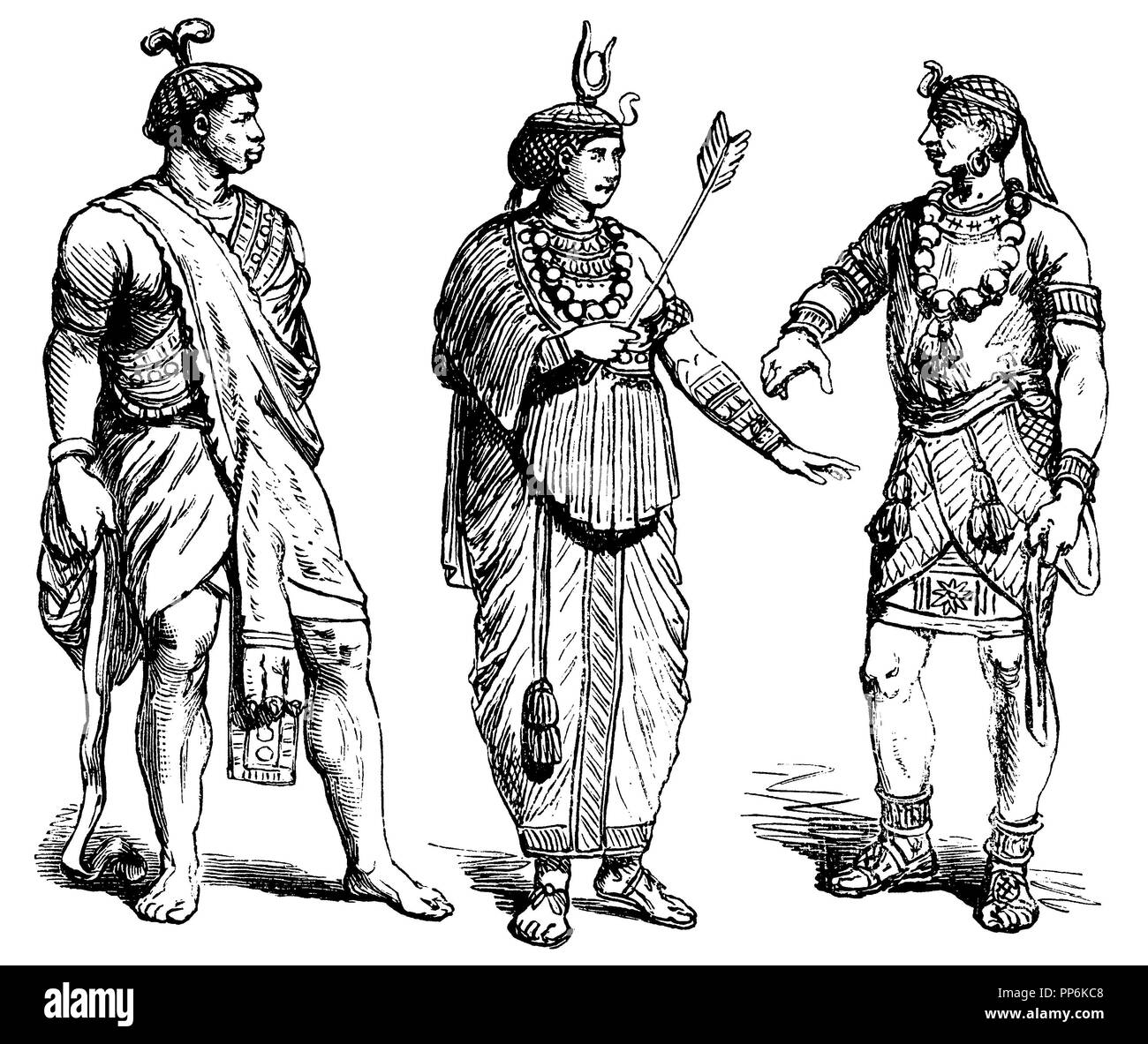 Ethiopians, left: Noble, middle: Queen, right: King, anonym  1896 Stock Photo