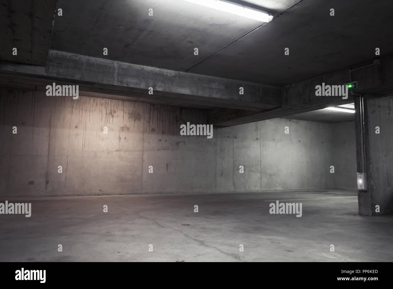 Abstract empty garage interior background with concrete walls and