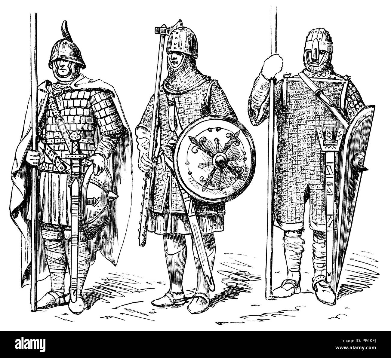 War costume of the Middle Ages, left: 9th century, middle: 10th century, right: 11th century, anonym  1896 - Stock Image