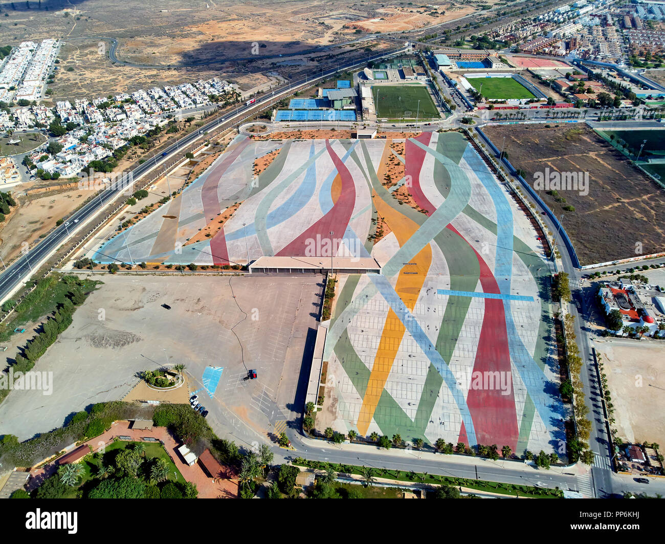 Aerial photography Torrevieja townscape. Above view of empty market parking area, square for transport. Torrevieja. Costa Blanca. Spain - Stock Image