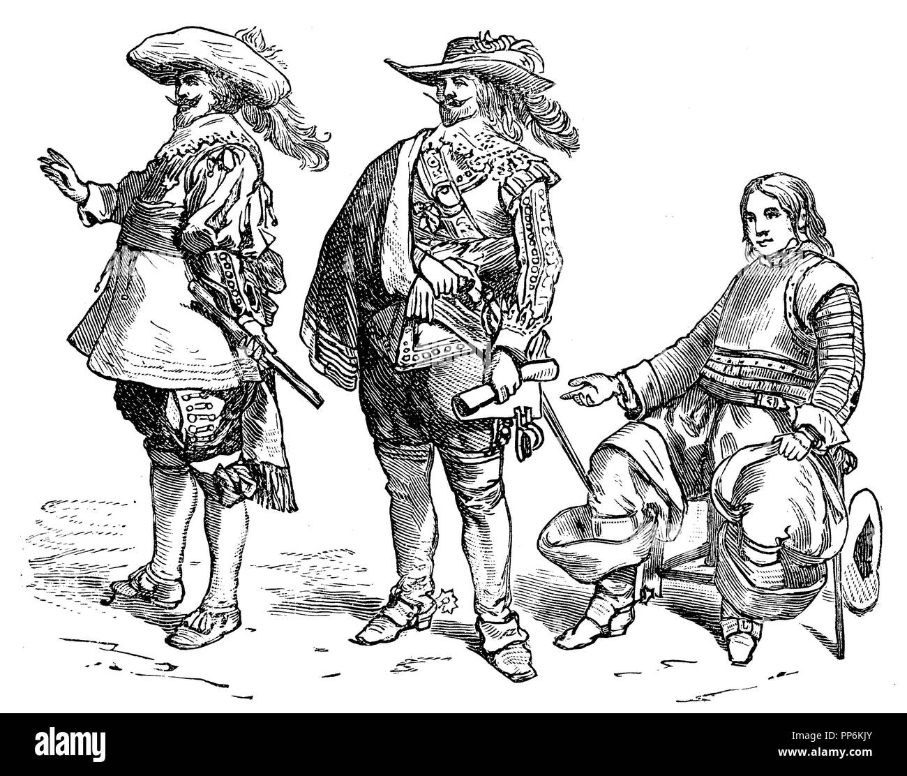 War costume of modern times, left: Flemings 1640-1650, center: nobleman 1625-1640, right: Dutch officer around 1650, anonym  1896 - Stock Image