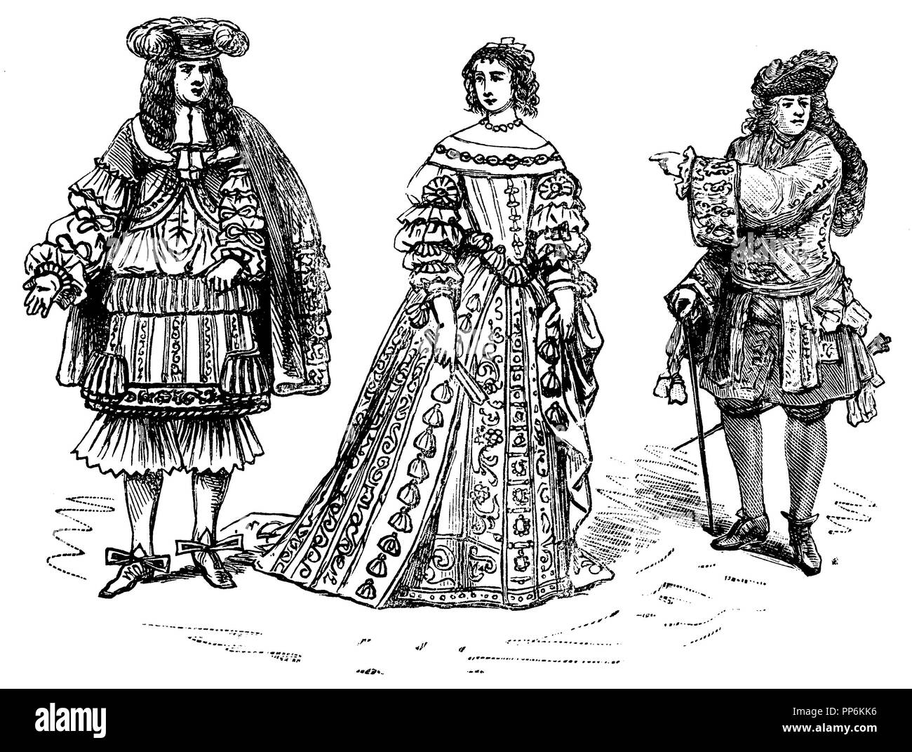 Allongetracht (1650-1720), left: Louis XIV and his wife, Maria Theresia, 1660, right: 1700, anonym  1896 Stock Photo