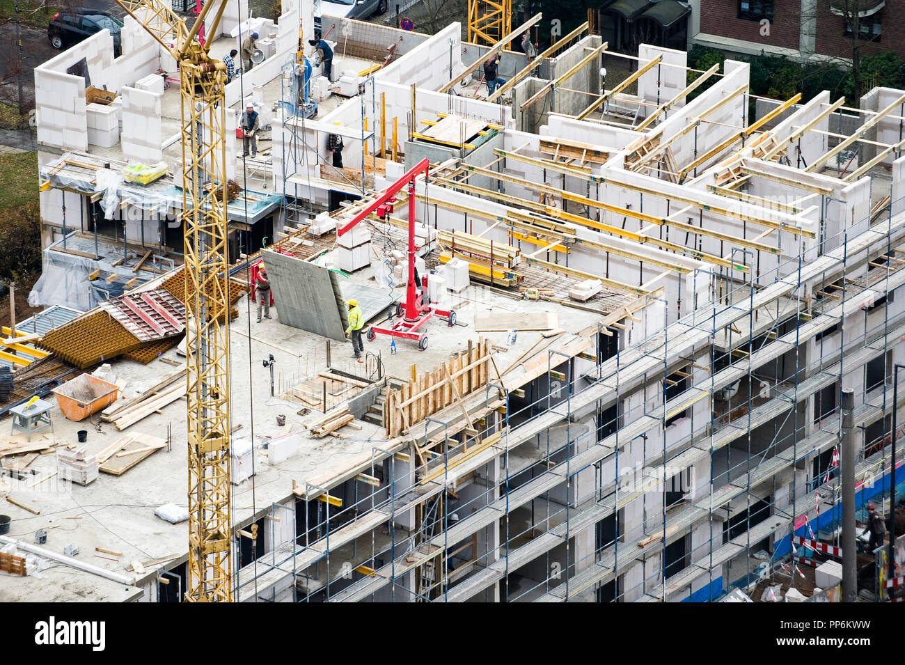 Construction site of big building seen from drone view - Stock Image