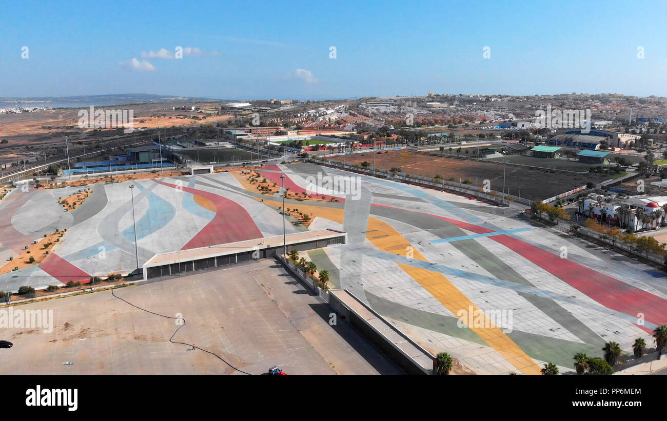 Aerial photography Torrevieja empty market parking area, square for transport. Every Friday many tourists and vacationers buy foodstuffs and clothes t - Stock Image