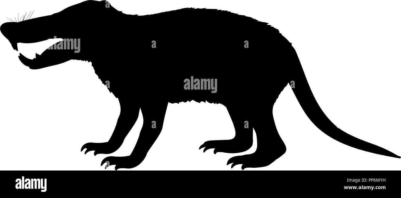 Deinogalerix hedgehog rat silhouette extinct mammal animal - Stock Image