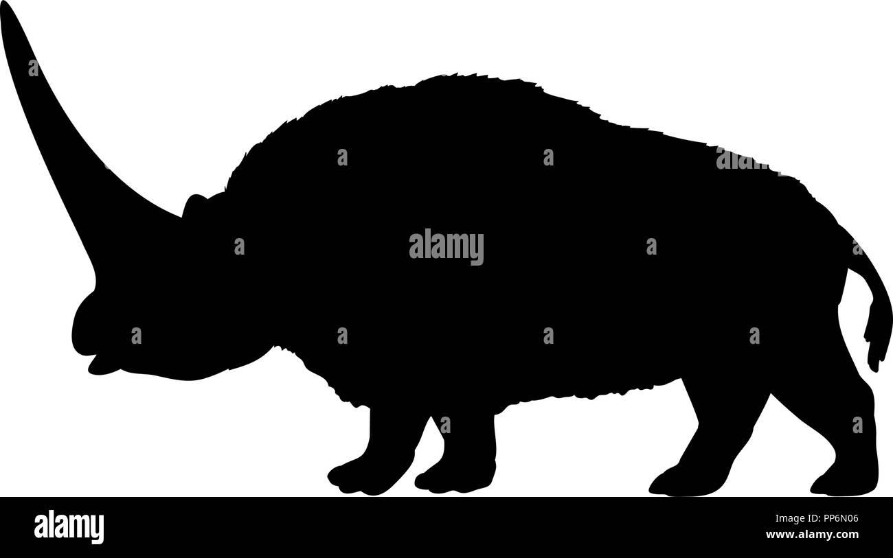 Elasmotherium rhinoceros silhouette extinct mammal animal - Stock Image