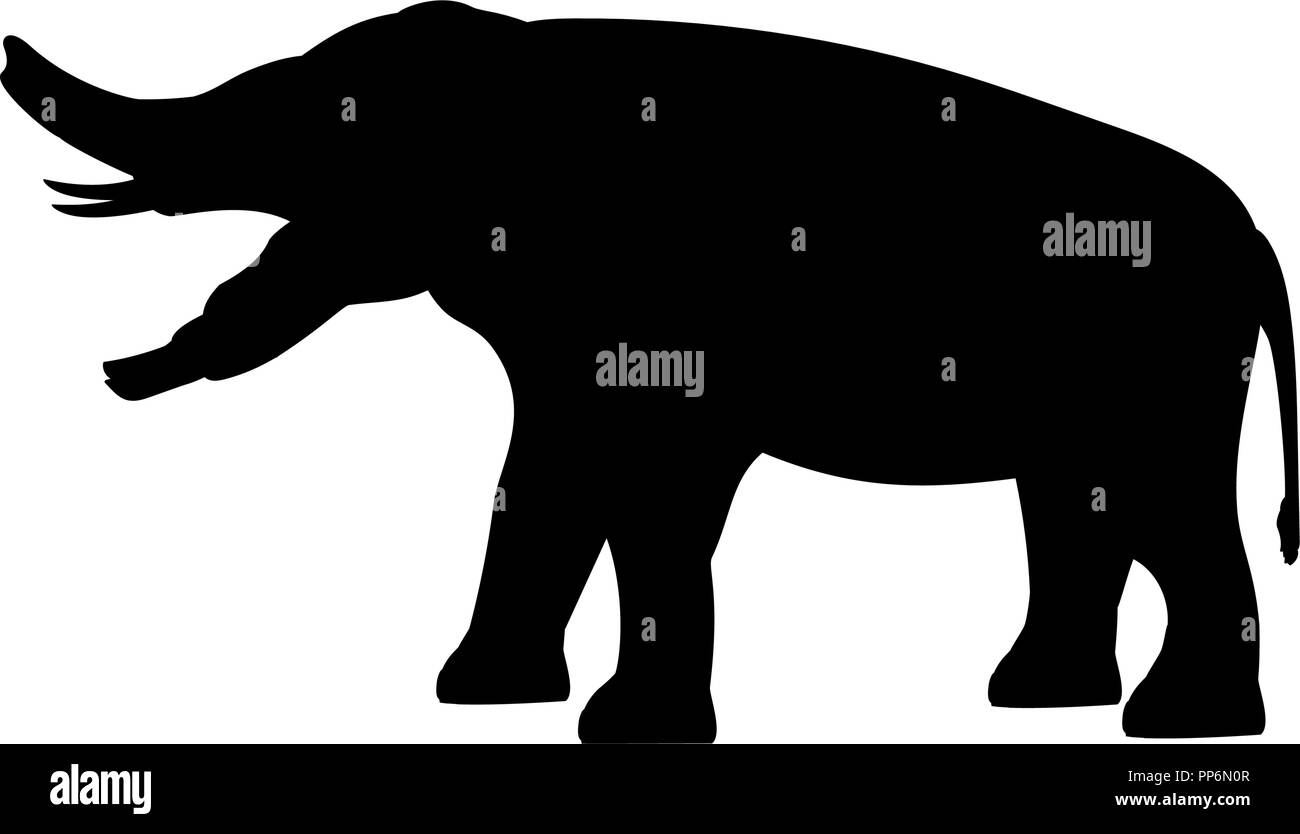 Platybelodon elephant silhouette extinct mammal animal - Stock Image