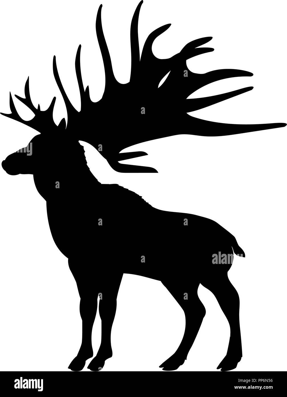 Megaloceros giant reindeer silhouette extinct mammalian animal - Stock Image