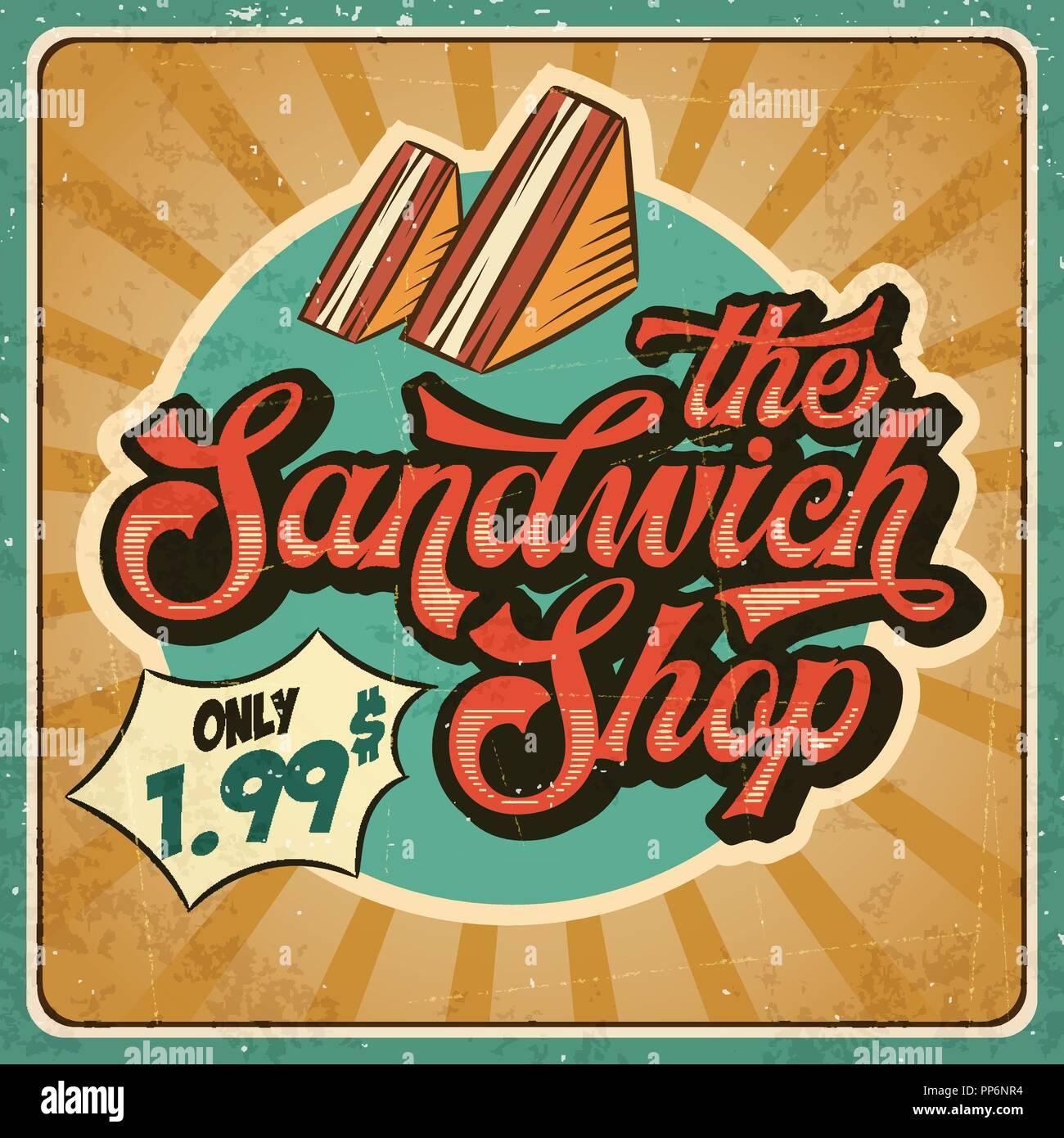 Retro Advertising Restaurant Sign For Sandwich Shop Vintage Poster Vector Eps10 Stock Vector Image Art Alamy