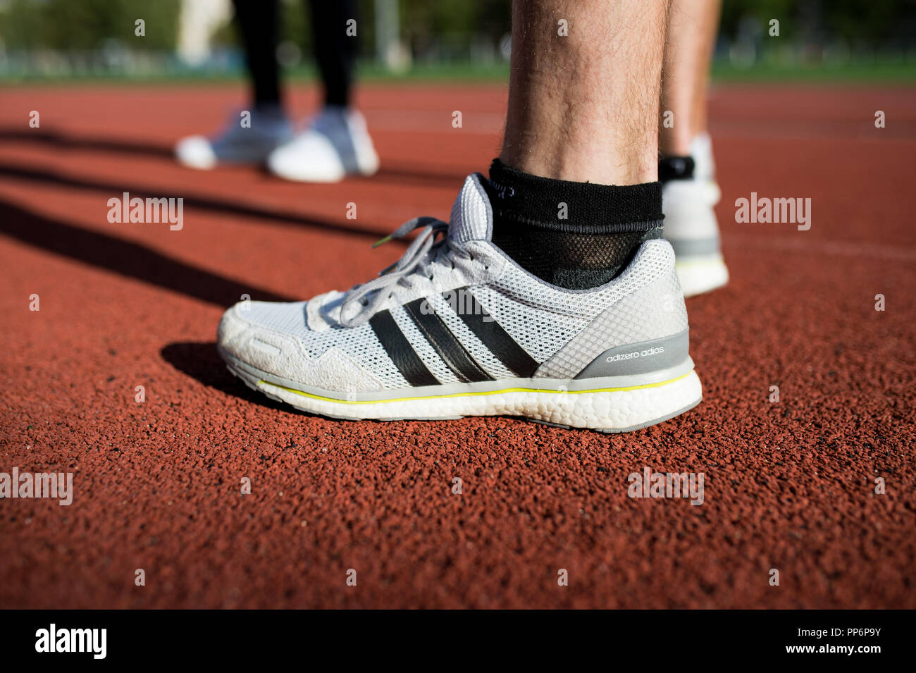 Running: Adidas running shoes on a