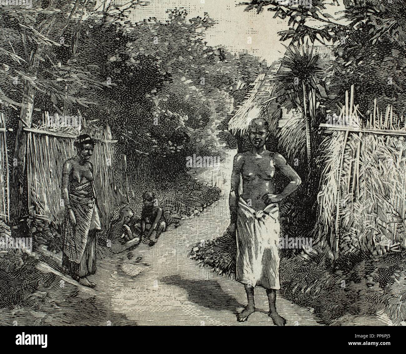 French imperialism. Africa. Dahomey. A street of Porto-Novo. Official residence of the French governor. Engraving in The Spanish and American Illustration, 1890. - Stock Image