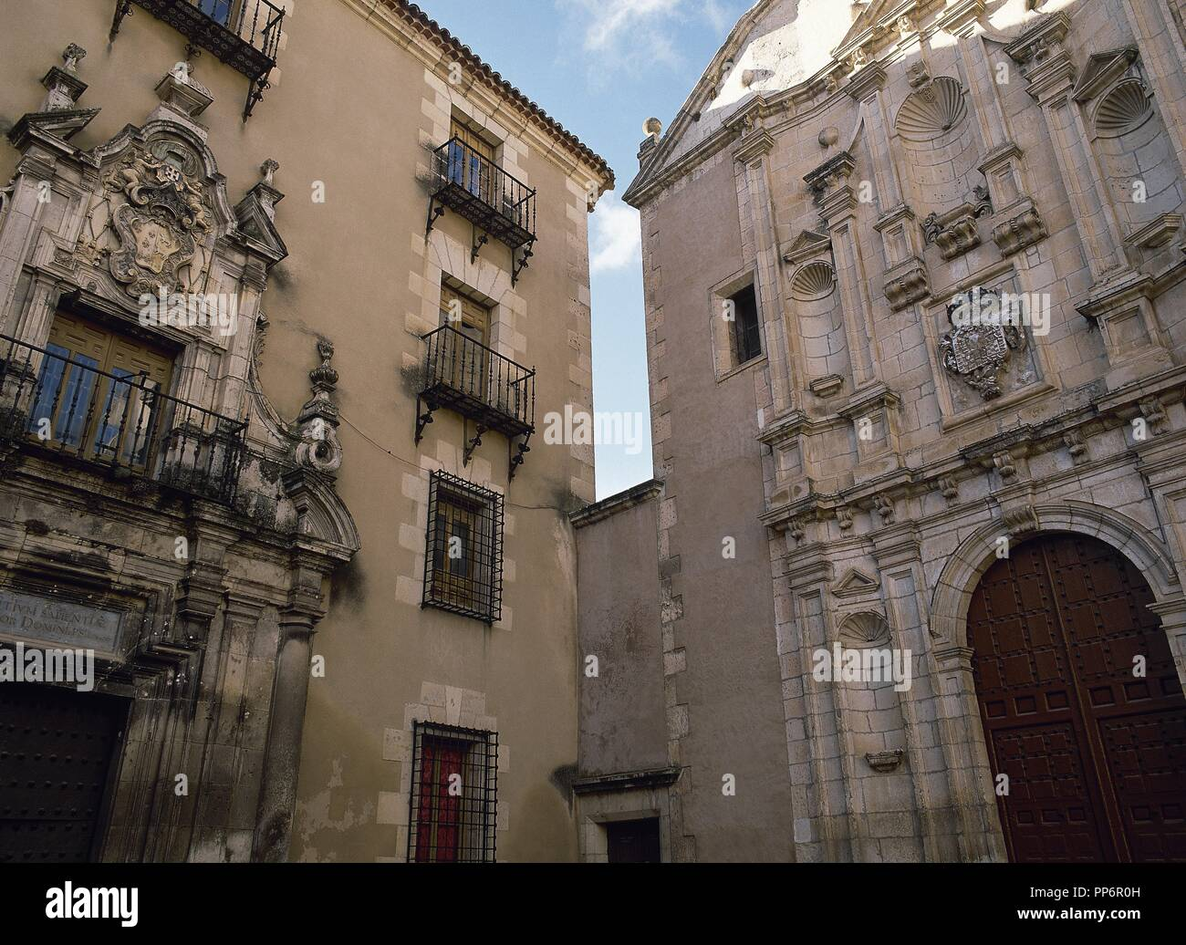 Spain. Cuenca. Conciliar Seminary of Saint Julian, 16th-18th centuries, and Convent of the Blessed Virgin Mary of Mercy, 18th century. Facade. Merced Square. Stock Photo