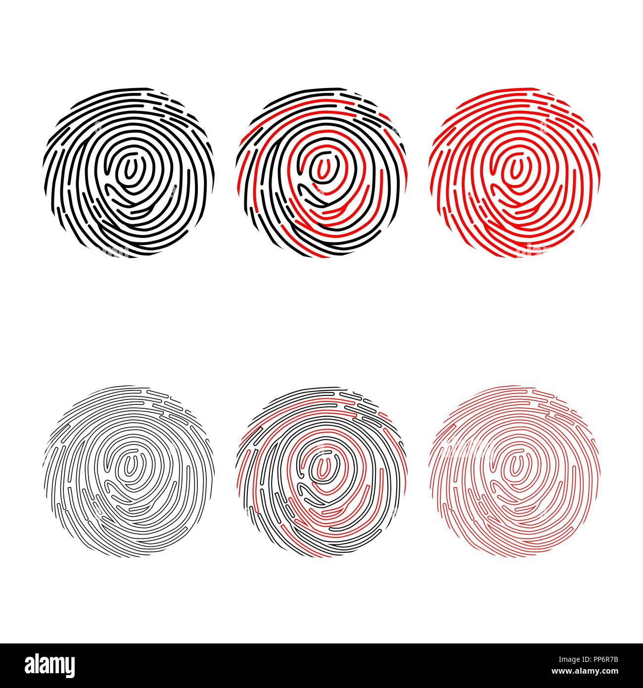 Set of different black and red finger prints isolated on white background - Stock Image