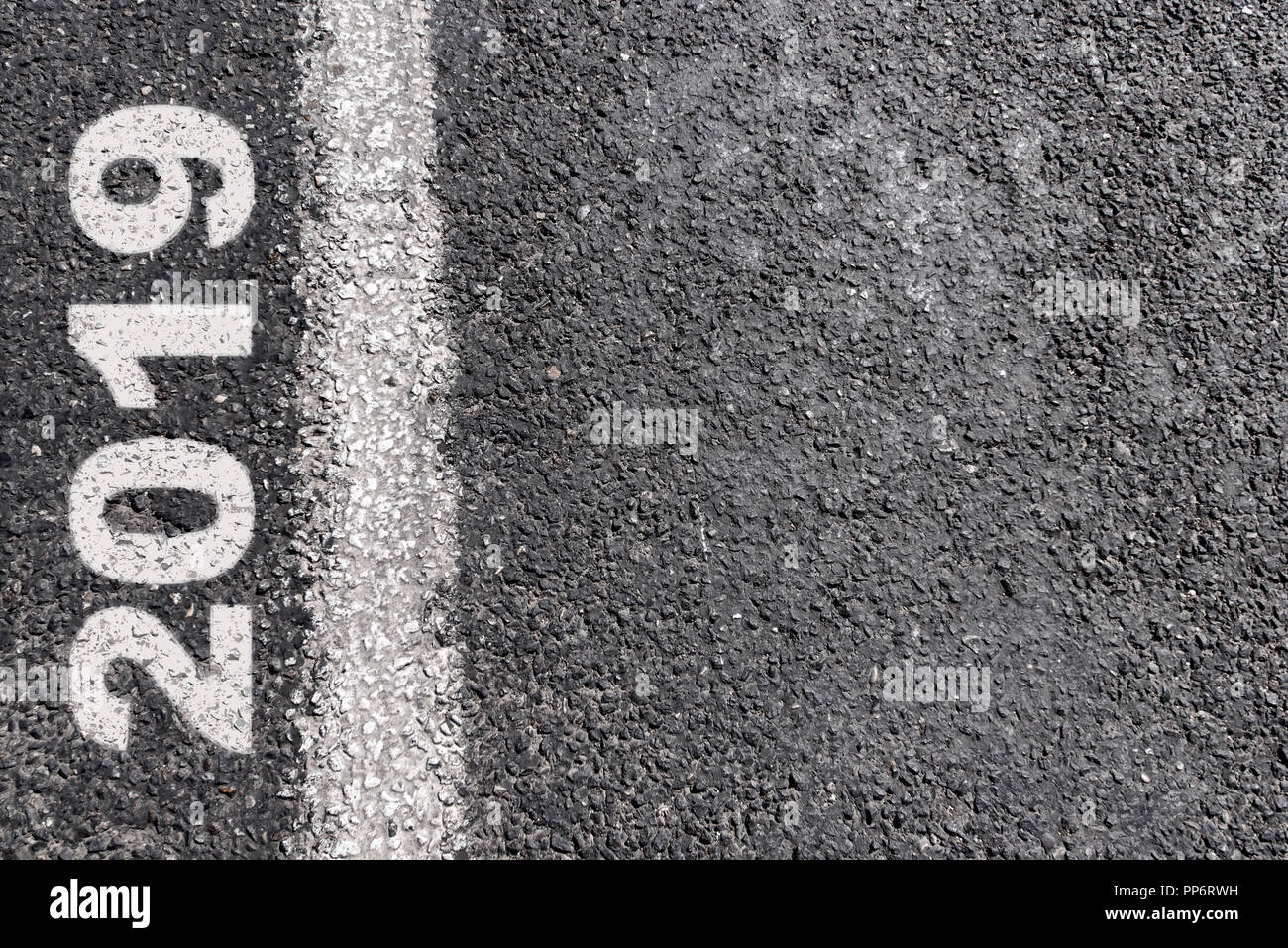 Empty road message on asphalt line. New Year Resolution 2019 - Stock Image