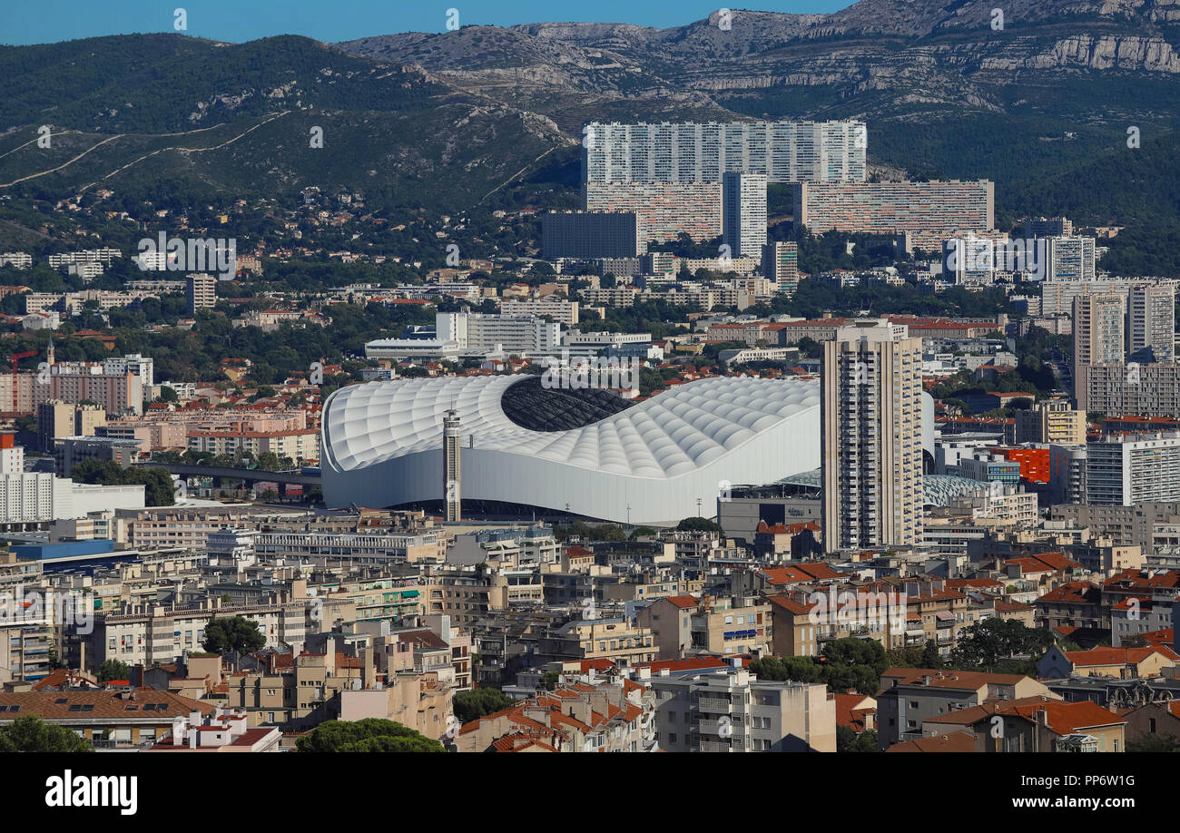 Aerial view over the city of Marseille, the Stade Velodrome. - Stock Image