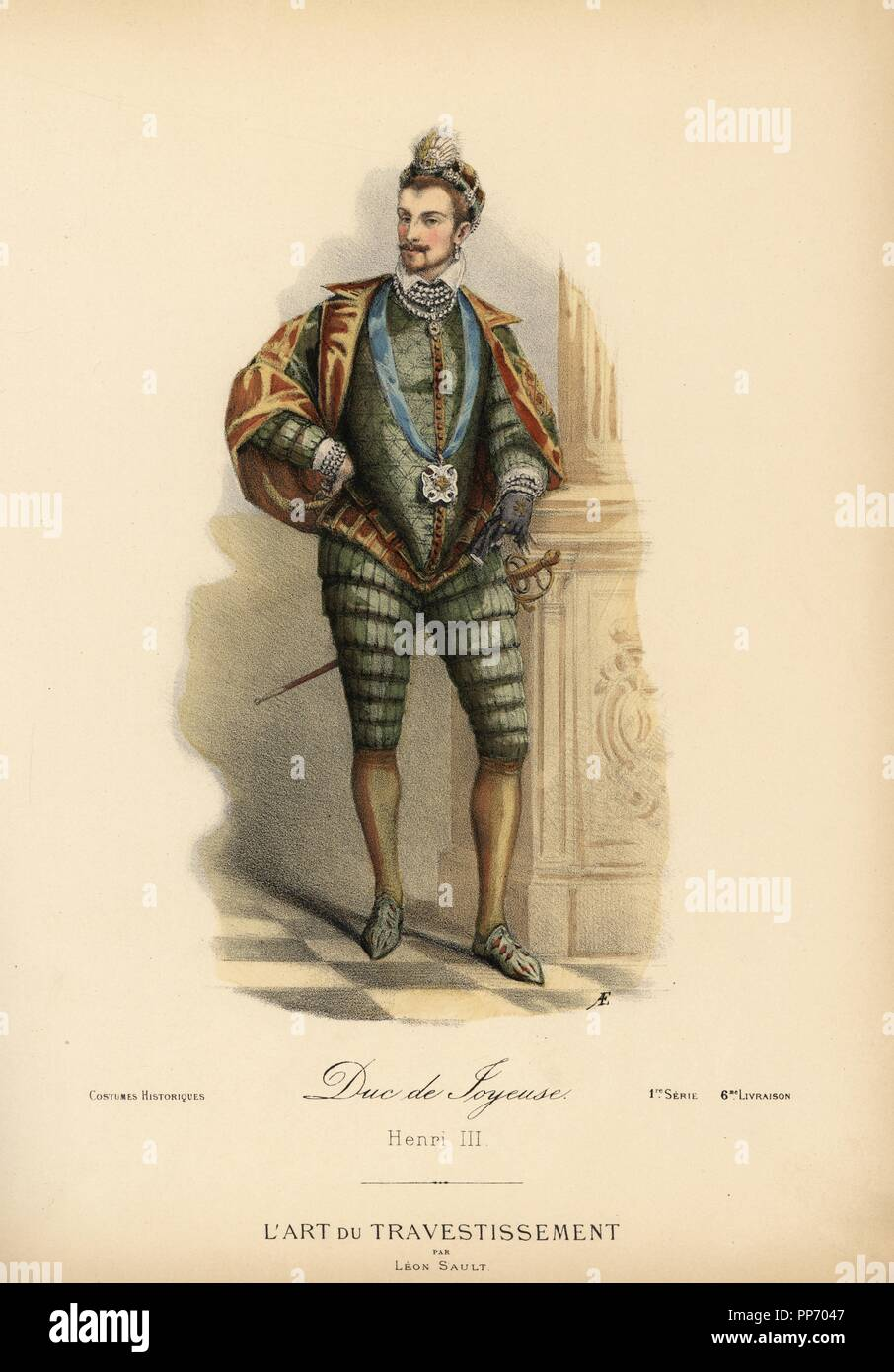 """Anne de Batarnay, Duke of Joyeuse, intimate friend of King Henri III of France, 16th century. He wears the Order of the Holy Spirit from a blue ribbon. Handcoloured lithograph by A.E. after a design by Leon Sault from """"L'Art du Travestissement"""" (The Art of Fancy Dress), Paris, c.1880. Sault was a theatre and opera designer and luxury fashion magazine publisher. Stock Photo"""