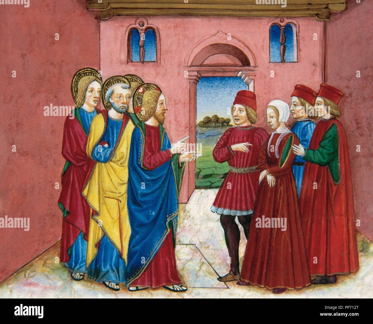 Cristoforo de Predis (1440-1486). Italian miniaturist. Miniature depicting the Pharisees bringing before Jesus a woman accused of adultery. In Stories of Saint Joachim, Saint Anne, Virgin Mary, Jesus, the Baptist and the End of the World, 1476, written by Galeazzo Maria Sforza (1444-1476). Royal Library. Turin. italy. Stock Photo