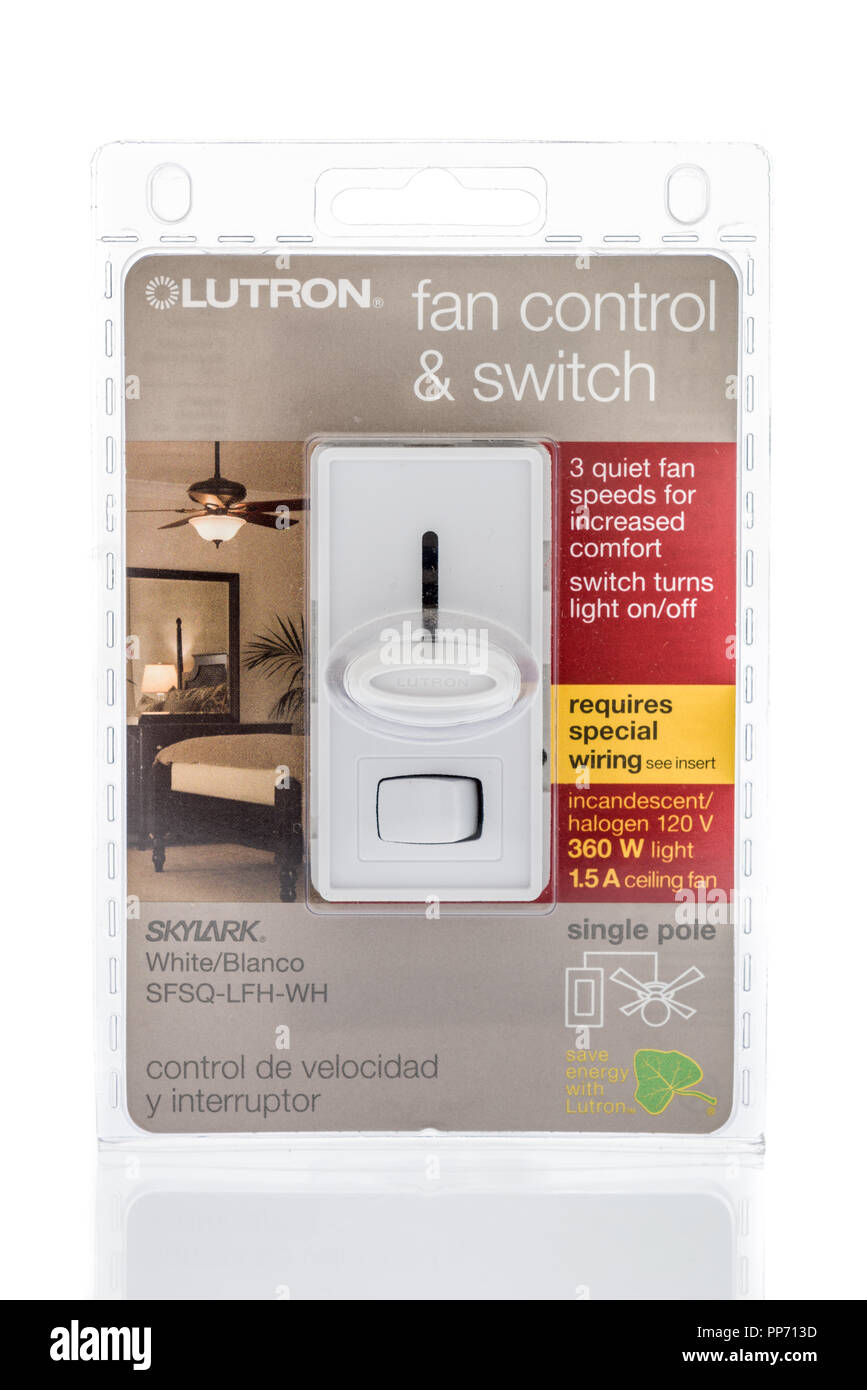 Electric Fan Switch Stock Photos Images Electrical Wiring Ceiling Light Winneconne Wi 17 May 2018 A Package Of Lutron Control And