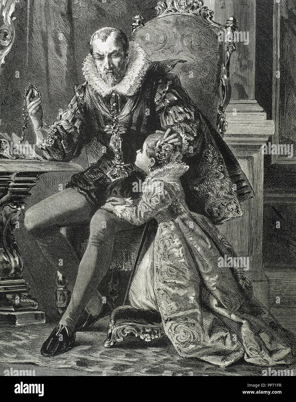 Philip II of Spain (1527-1598). House of Habsburg. King with his son. Engraving. 19th century. - Stock Image