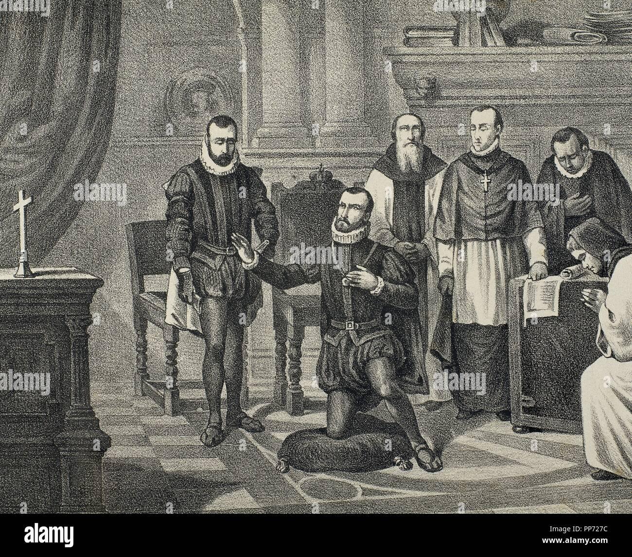 Philip II of Spain (1527-1598). House of Habsburg. King imploring God. Engraving. 19th century. - Stock Image